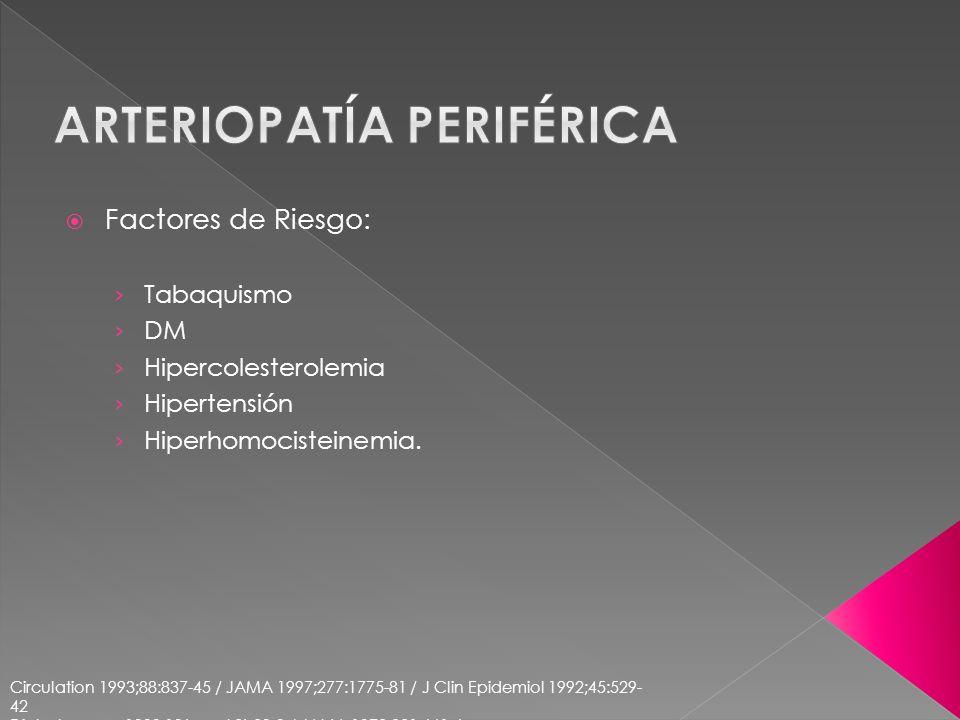Factores de Riesgo: Tabaquismo DM Hipercolesterolemia Hipertensión Hiperhomocisteinemia. Circulation 1993;88:837-45 / JAMA 1997;277:1775-81 / J Clin E