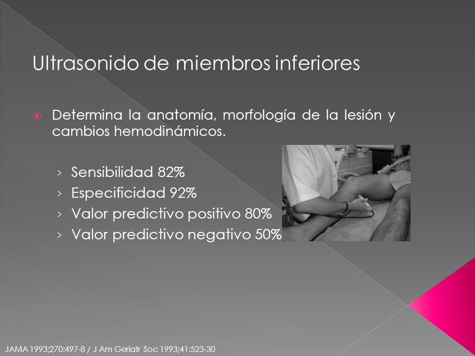 Ultrasonido de miembros inferiores Determina la anatomía, morfología de la lesión y cambios hemodinámicos. Sensibilidad 82% Especificidad 92% Valor pr