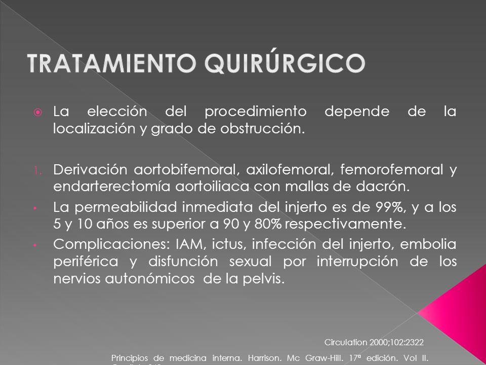 La elección del procedimiento depende de la localización y grado de obstrucción. 1. Derivación aortobifemoral, axilofemoral, femorofemoral y endartere