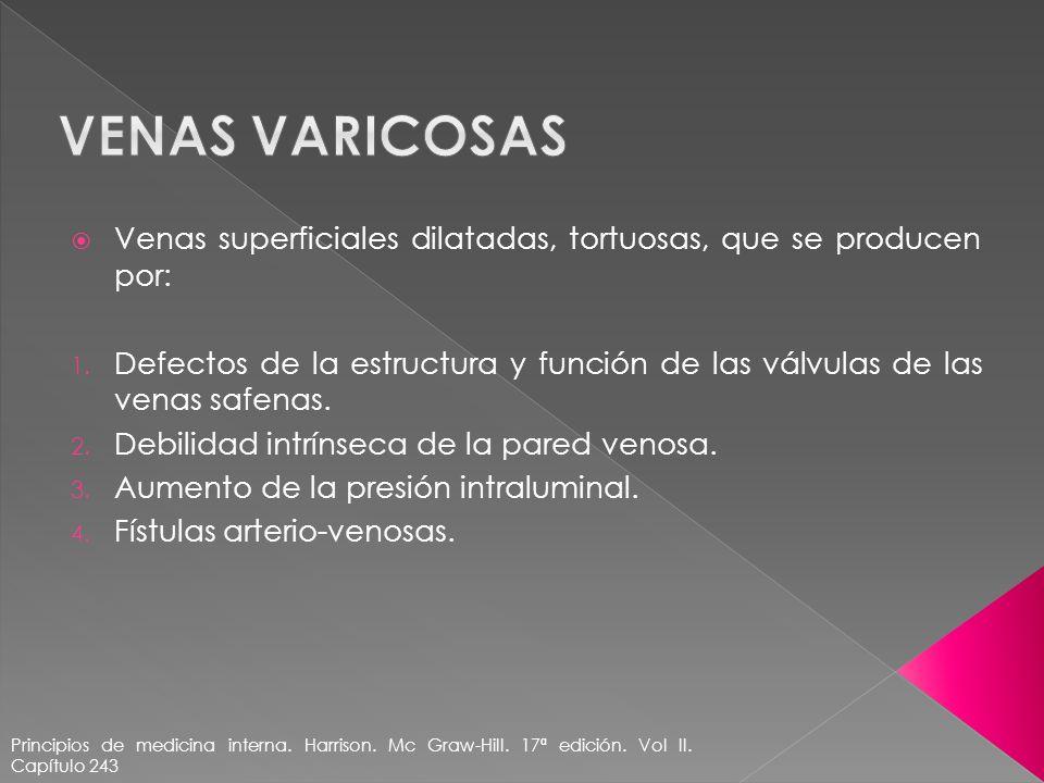 Venas superficiales dilatadas, tortuosas, que se producen por: 1. Defectos de la estructura y función de las válvulas de las venas safenas. 2. Debilid