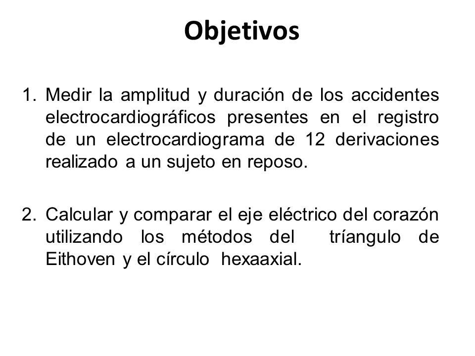 Objetivos 1.Medir la amplitud y duración de los accidentes electrocardiográficos presentes en el registro de un electrocardiograma de 12 derivaciones