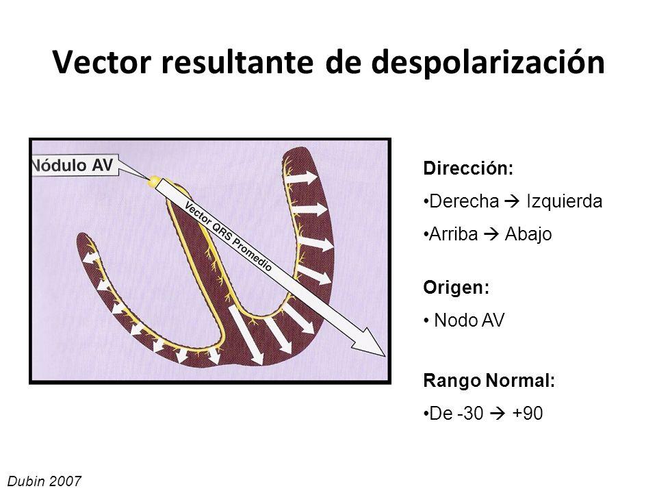 Vector resultante de despolarización Dirección: Derecha Izquierda Arriba Abajo Origen: Nodo AV Rango Normal: De -30 +90 Dubin 2007