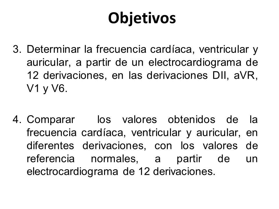 Objetivos 3.Determinar la frecuencia cardíaca, ventricular y auricular, a partir de un electrocardiograma de 12 derivaciones, en las derivaciones DII,