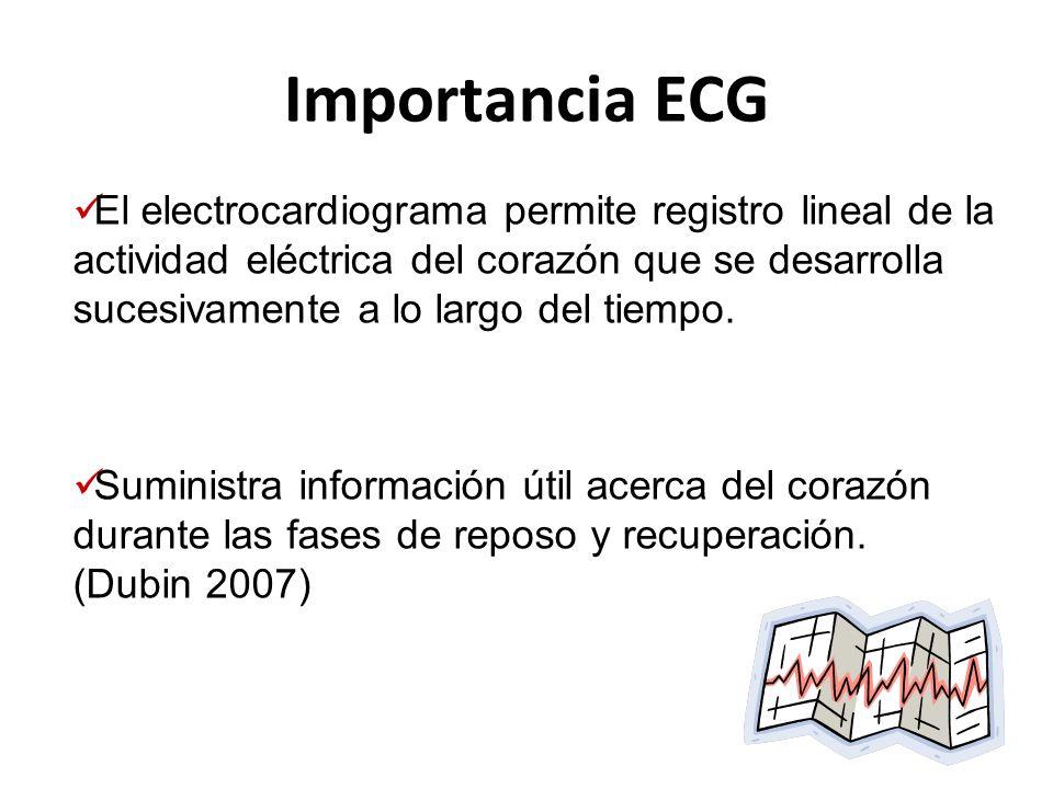 Importancia ECG El electrocardiograma permite registro lineal de la actividad eléctrica del corazón que se desarrolla sucesivamente a lo largo del tie