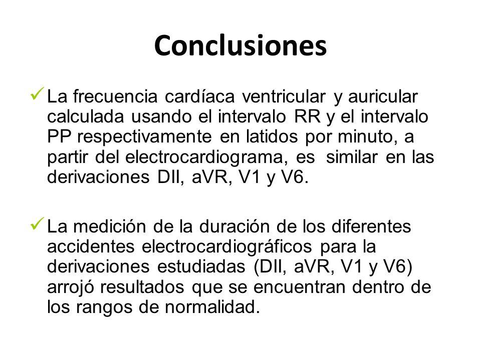 Conclusiones La frecuencia cardíaca ventricular y auricular calculada usando el intervalo RR y el intervalo PP respectivamente en latidos por minuto,