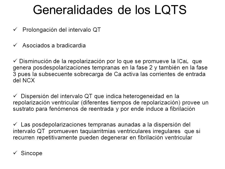 Generalidades de los LQTS Prolongación del intervalo QT Asociados a bradicardia Disminución de la repolarización por lo que se promueve la I Ca L que