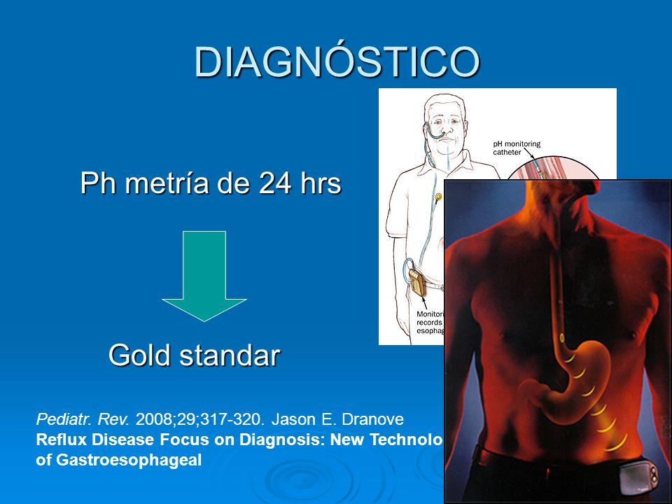 DIAGNÓSTICO Ph metría de 24 hrs Gold standar Pediatr. Rev. 2008;29;317-320. Jason E. Dranove Reflux Disease Focus on Diagnosis: New Technologies for t
