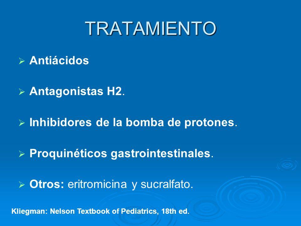 TRATAMIENTO Antiácidos Antagonistas H2. Inhibidores de la bomba de protones. Proquinéticos gastrointestinales. Otros: eritromicina y sucralfato. Klieg