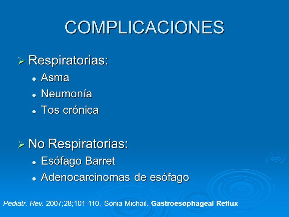 COMPLICACIONES Respiratorias: Respiratorias: Asma Asma Neumonía Neumonía Tos crónica Tos crónica No Respiratorias: No Respiratorias: Esófago Barret Es