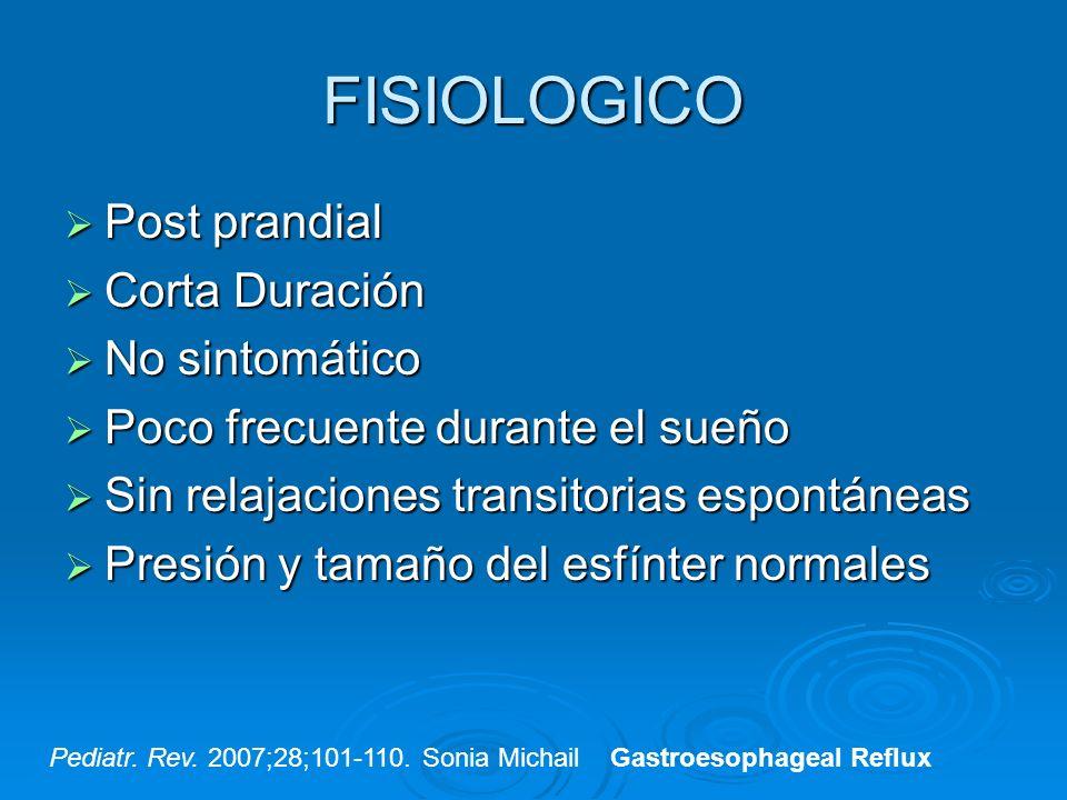 FISIOLOGICO Post prandial Post prandial Corta Duración Corta Duración No sintomático No sintomático Poco frecuente durante el sueño Poco frecuente dur