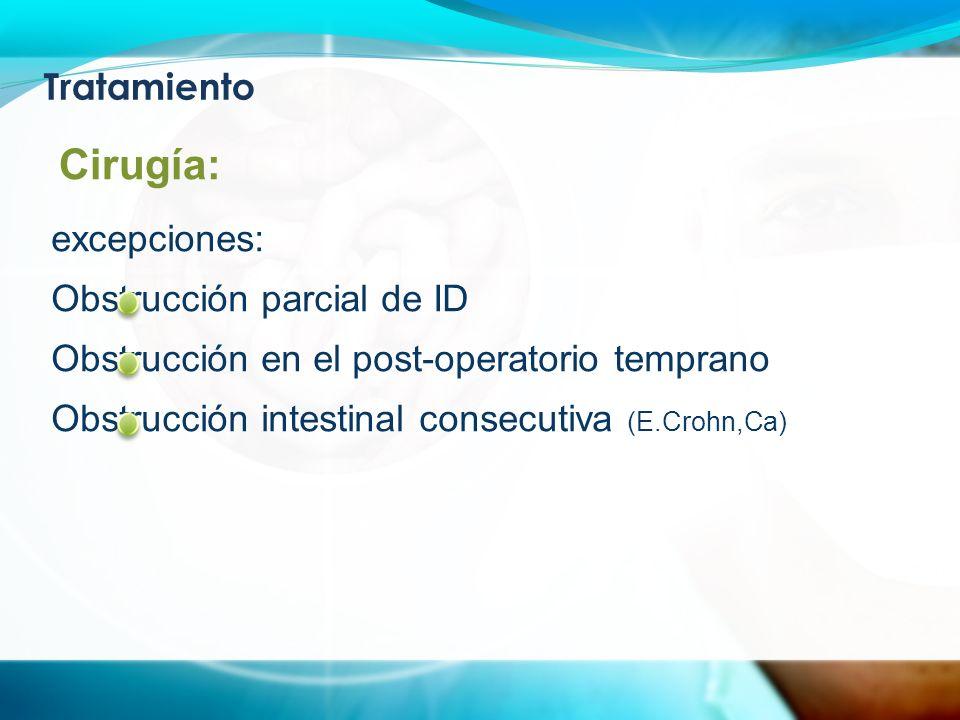 Tratamiento excepciones: Obstrucción parcial de ID Obstrucción en el post-operatorio temprano Obstrucción intestinal consecutiva (E.Crohn,Ca) Cirugía: