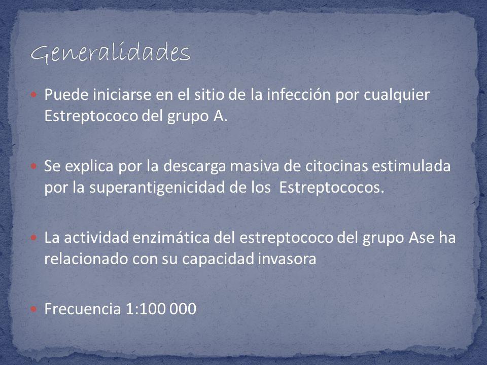 Puede iniciarse en el sitio de la infección por cualquier Estreptococo del grupo A. Se explica por la descarga masiva de citocinas estimulada por la s