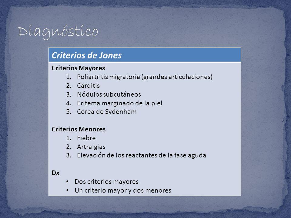 Criterios de Jones Criterios Mayores 1.Poliartritis migratoria (grandes articulaciones) 2.Carditis 3.Nódulos subcutáneos 4.Eritema marginado de la pie