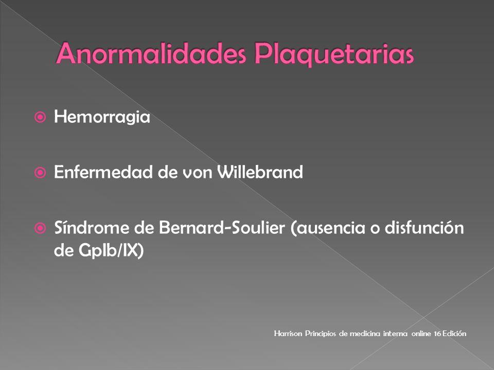 Hemorragia Enfermedad de von Willebrand Síndrome de Bernard-Soulier (ausencia o disfunción de GpIb/IX) Harrison Principios de medicina interna online