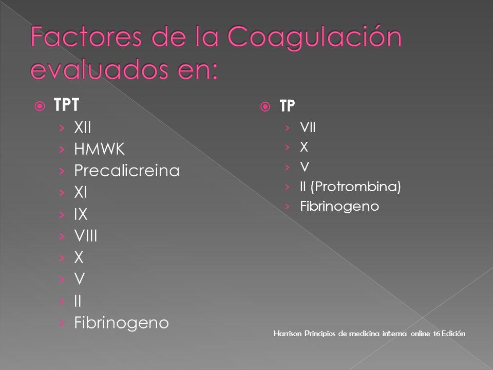 TPT XII HMWK Precalicreina XI IX VIII X V II Fibrinogeno TP VII X V II (Protrombina) Fibrinogeno Harrison Principios de medicina interna online 16 Edi