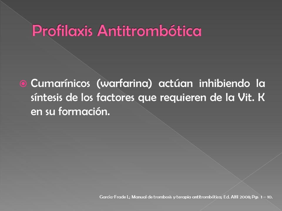Cumarínicos (warfarina) actúan inhibiendo la síntesis de los factores que requieren de la Vit. K en su formación. García-Frade L; Manual de trombosis