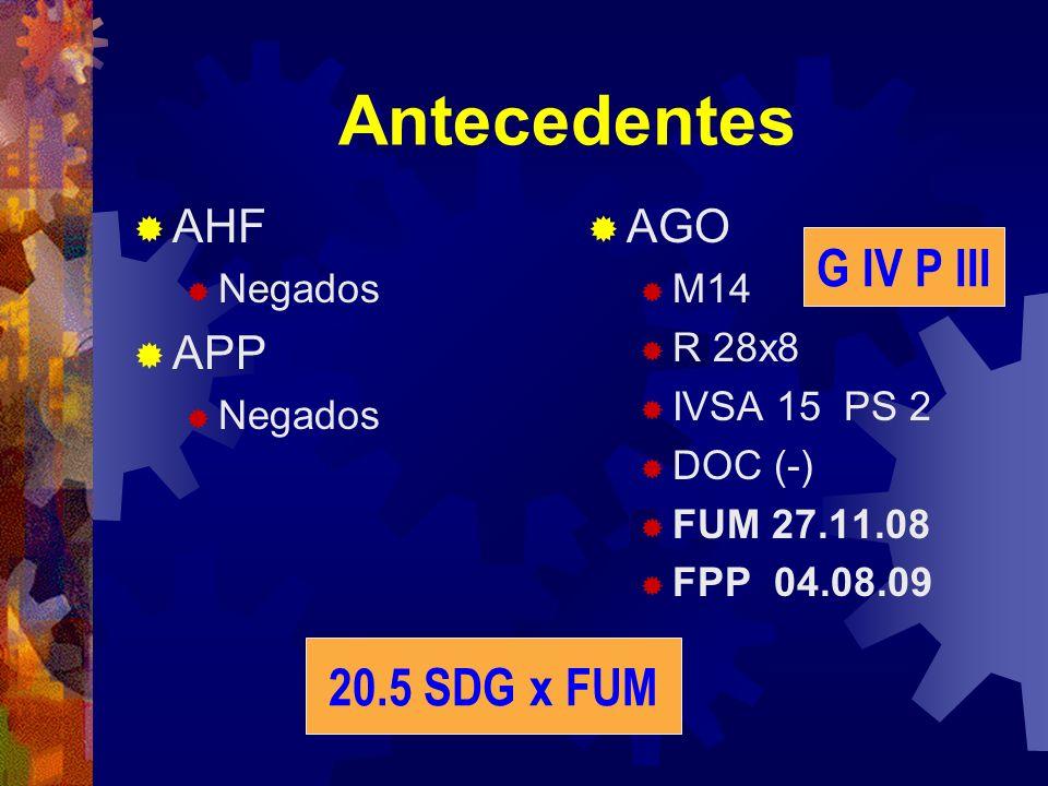 Antecedentes AHF Negados APP Negados AGO M14 R 28x8 IVSA 15 PS 2 DOC (-) FUM 27.11.08 FPP 04.08.09 20.5 SDG x FUM G IV P III