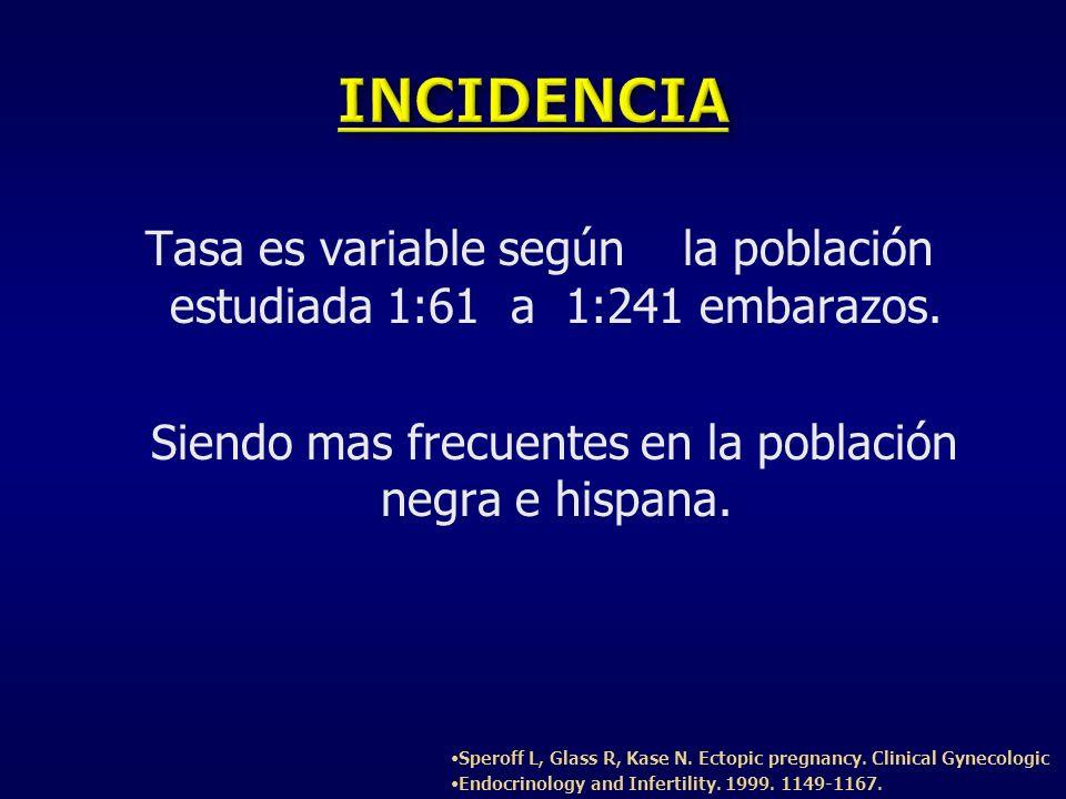 Tasa es variable según la población estudiada 1:61 a 1:241 embarazos. Siendo mas frecuentes en la población negra e hispana. Speroff L, Glass R, Kase