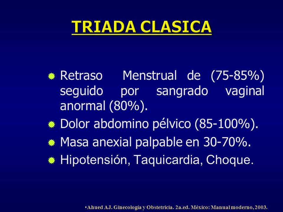 Retraso Menstrual de (75-85%) seguido por sangrado vaginal anormal (80%). Dolor abdomino pélvico (85-100%). Masa anexial palpable en 30-70%. Hipotensi