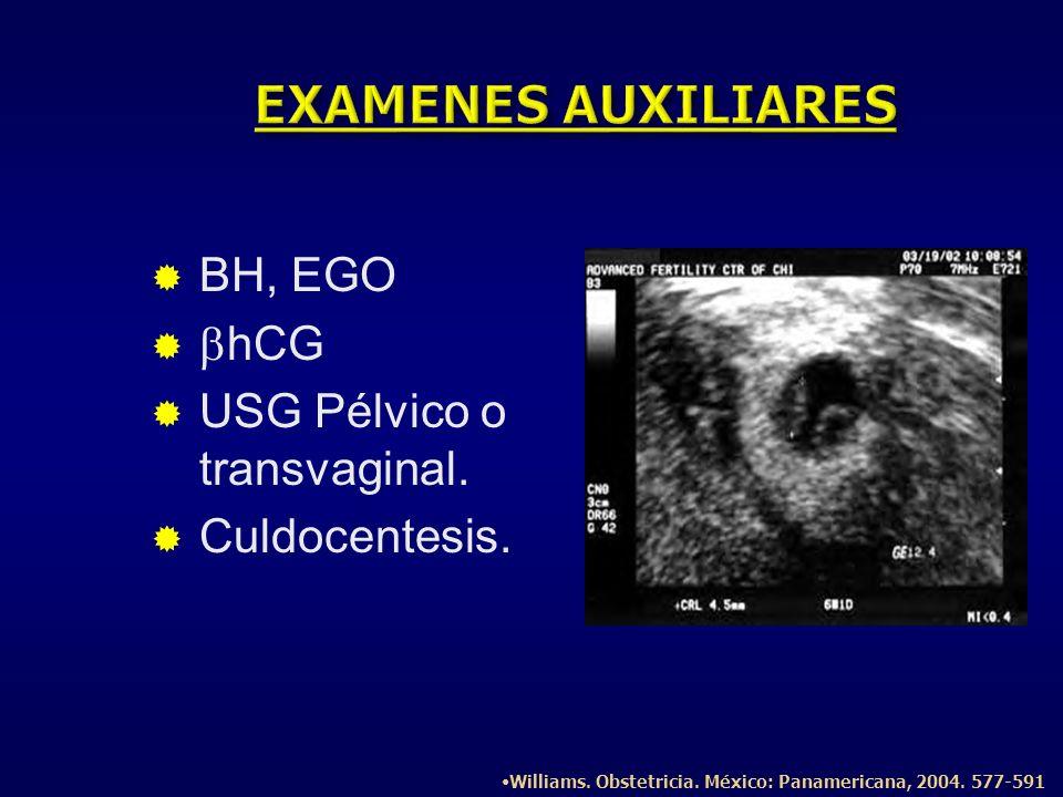BH, EGO hCG USG Pélvico o transvaginal. Culdocentesis. Williams. Obstetricia. México: Panamericana, 2004. 577-591