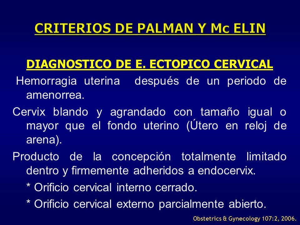 DIAGNOSTICO DE E. ECTOPICO CERVICAL Hemorragia uterina después de un periodo de amenorrea. Cervix blando y agrandado con tamaño igual o mayor que el f