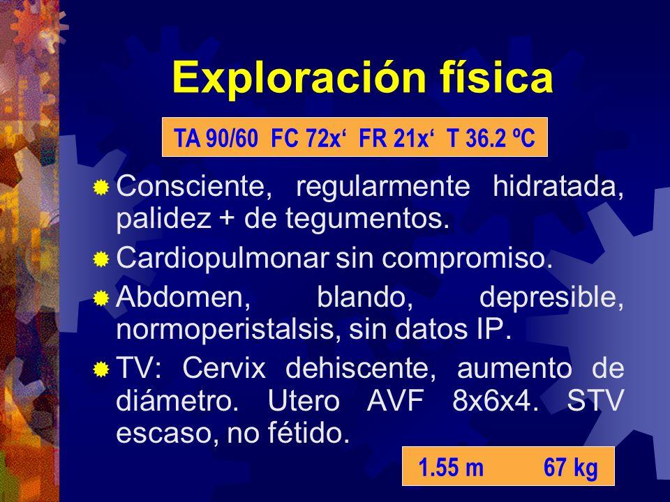 Exploración física Consciente, regularmente hidratada, palidez + de tegumentos. Cardiopulmonar sin compromiso. Abdomen, blando, depresible, normoperis
