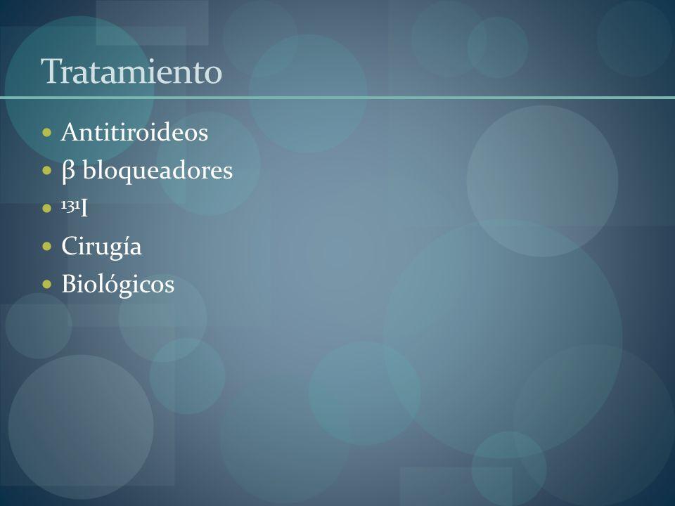 Tratamiento Antitiroideos β bloqueadores 131 I Cirugía Biológicos