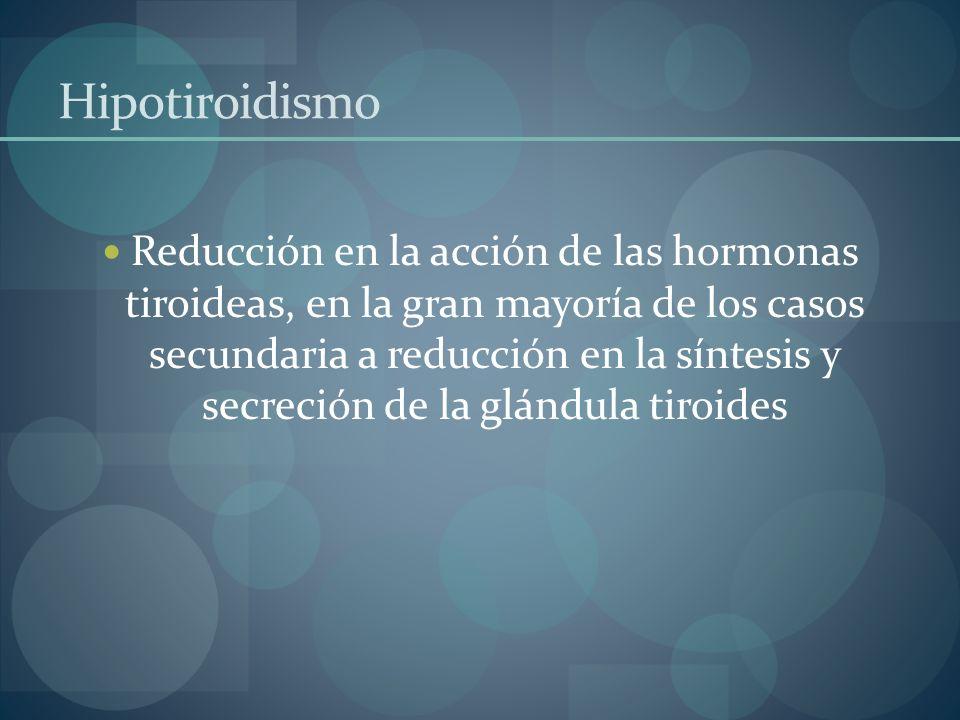 Hipotiroidismo Reducción en la acción de las hormonas tiroideas, en la gran mayoría de los casos secundaria a reducción en la síntesis y secreción de