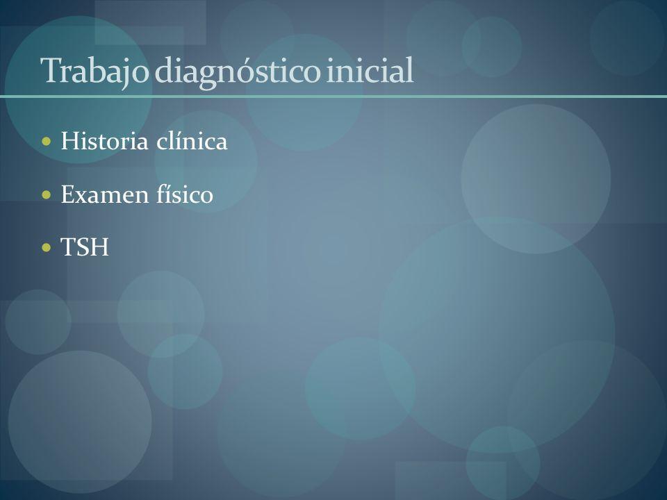 Trabajo diagnóstico inicial Historia clínica Examen físico TSH