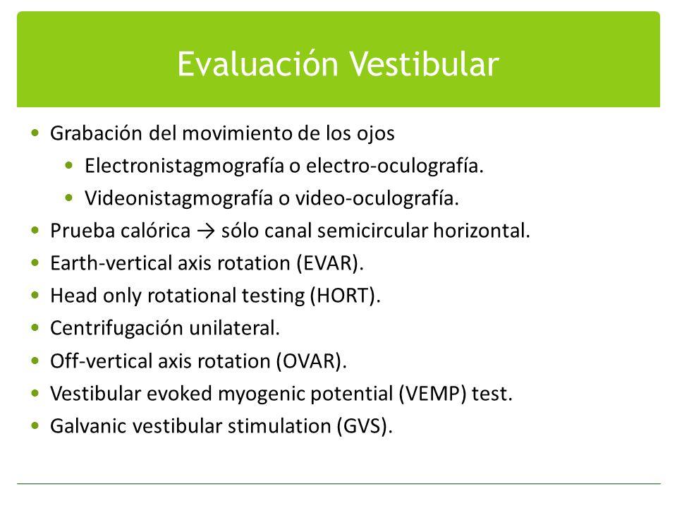 Evaluación Vestibular Grabación del movimiento de los ojos Electronistagmografía o electro-oculografía. Videonistagmografía o video-oculografía. Prueb