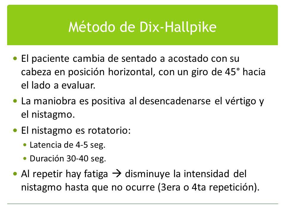 Método de Dix-Hallpike El paciente cambia de sentado a acostado con su cabeza en posición horizontal, con un giro de 45° hacia el lado a evaluar. La m