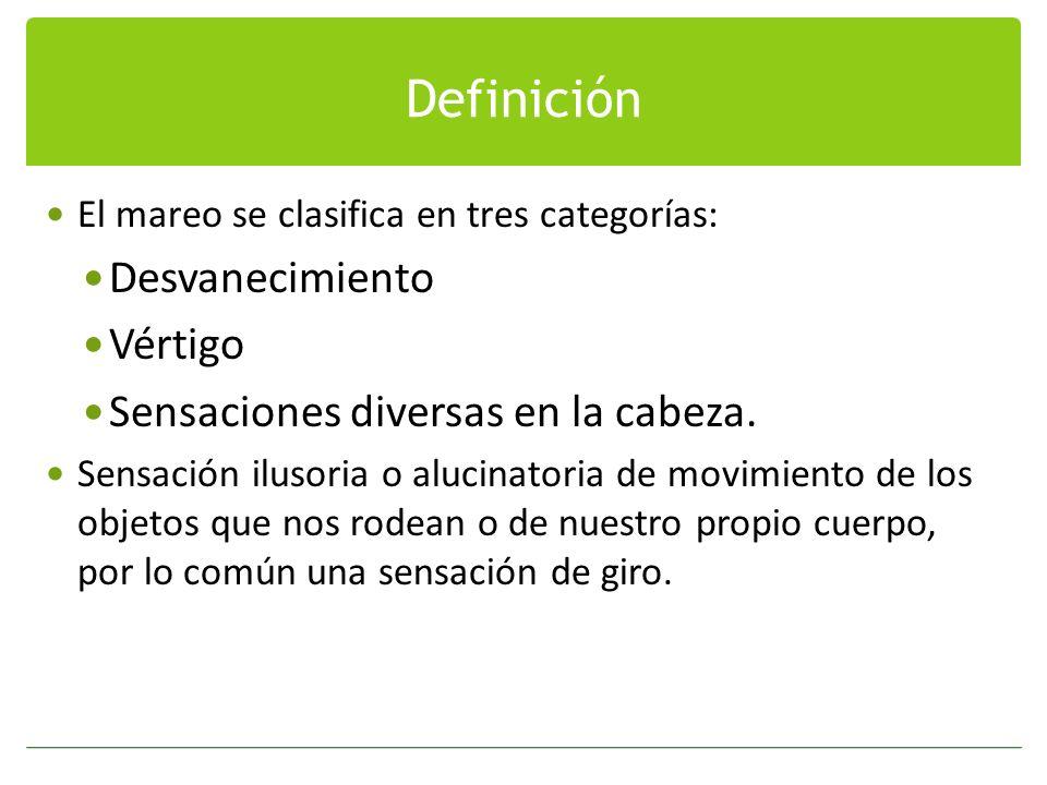 Definición El mareo se clasifica en tres categorías: Desvanecimiento Vértigo Sensaciones diversas en la cabeza. Sensación ilusoria o alucinatoria de m