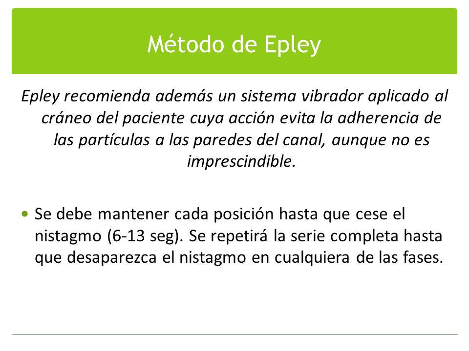 Método de Epley Epley recomienda además un sistema vibrador aplicado al cráneo del paciente cuya acción evita la adherencia de las partículas a las pa
