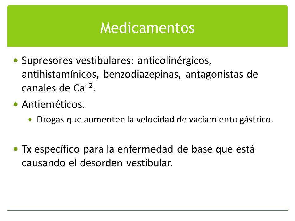 Medicamentos Supresores vestibulares: anticolinérgicos, antihistamínicos, benzodiazepinas, antagonistas de canales de Ca +2. Antieméticos. Drogas que
