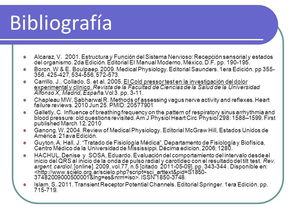 Bibliografía Alcaraz, V. 2001. Estructura y Función del Sistema Nervioso: Recepción sensorial y estados del organismo. 2da Edición. Editorial El Manua