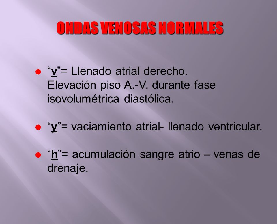 ONDAS VENOSAS NORMALES v= Llenado atrial derecho. Elevación piso A.-V. durante fase isovolumétrica diastólica. y= vaciamiento atrial- llenado ventricu