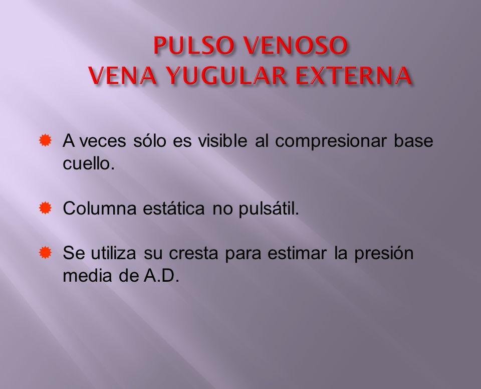 PULSO VENOSO VENA YUGULAR EXTERNA A veces sólo es visible al compresionar base cuello. Columna estática no pulsátil. Se utiliza su cresta para estimar