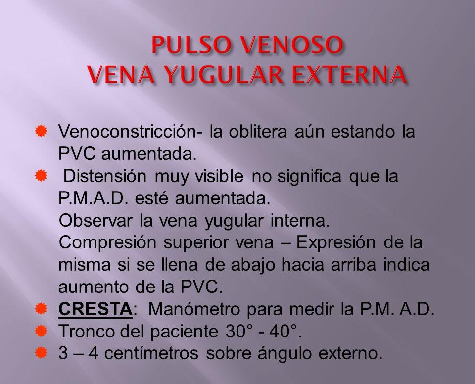 PULSO VENOSO VENA YUGULAR EXTERNA Venoconstricción- la oblitera aún estando la PVC aumentada. Distensión muy visible no significa que la P.M.A.D. esté