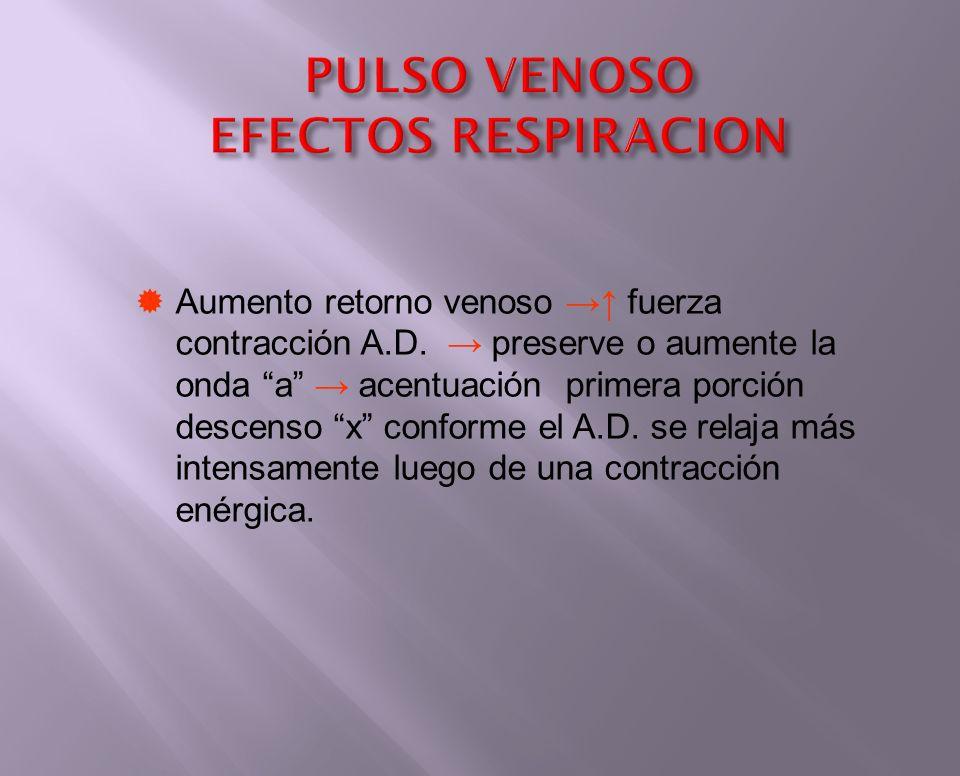 PULSO VENOSO EFECTOS RESPIRACION Aumento retorno venoso fuerza contracción A.D. preserve o aumente la onda a acentuación primera porción descenso x co