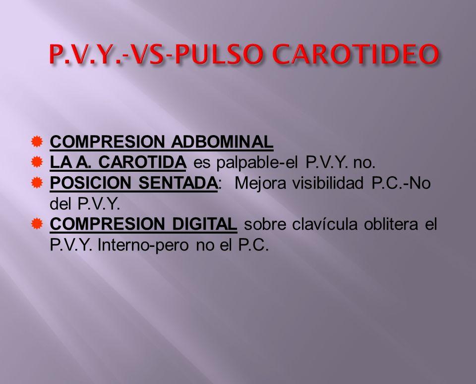 P.V.Y.-VS-PULSO CAROTIDEO COMPRESION ADBOMINAL LA A. CAROTIDA es palpable-el P.V.Y. no. POSICION SENTADA: Mejora visibilidad P.C.-No del P.V.Y. COMPRE