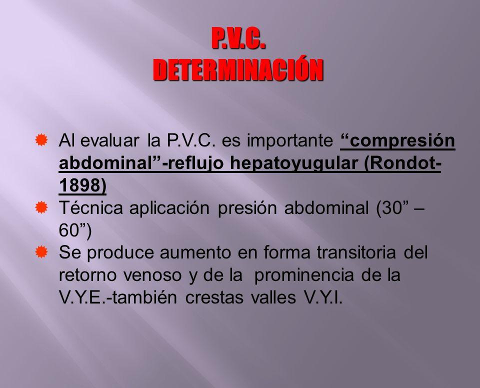 Al evaluar la P.V.C. es importante compresión abdominal-reflujo hepatoyugular (Rondot- 1898) Técnica aplicación presión abdominal (30 – 60) Se produce