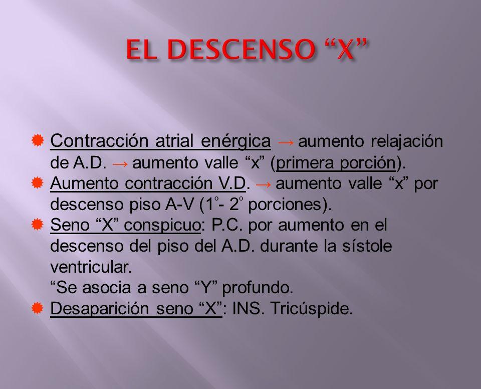 EL DESCENSO X Contracción atrial enérgica aumento relajación de A.D. aumento valle x (primera porción). Aumento contracción V.D. aumento valle x por d