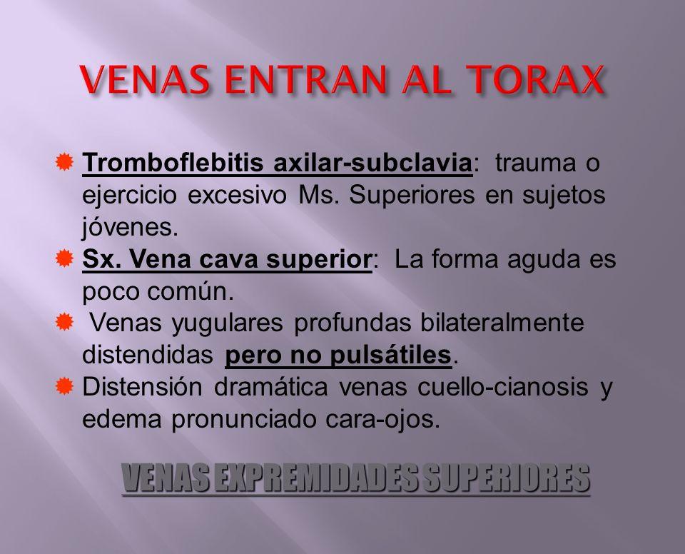 Tromboflebitis axilar-subclavia: trauma o ejercicio excesivo Ms. Superiores en sujetos jóvenes. Sx. Vena cava superior: La forma aguda es poco común.