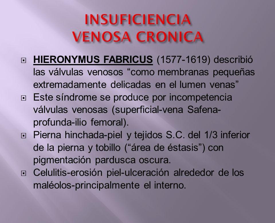 HIERONYMUS FABRICUS (1577-1619) describió las válvulas venosos como membranas pequeñas extremadamente delicadas en el lumen venas Este síndrome se pro
