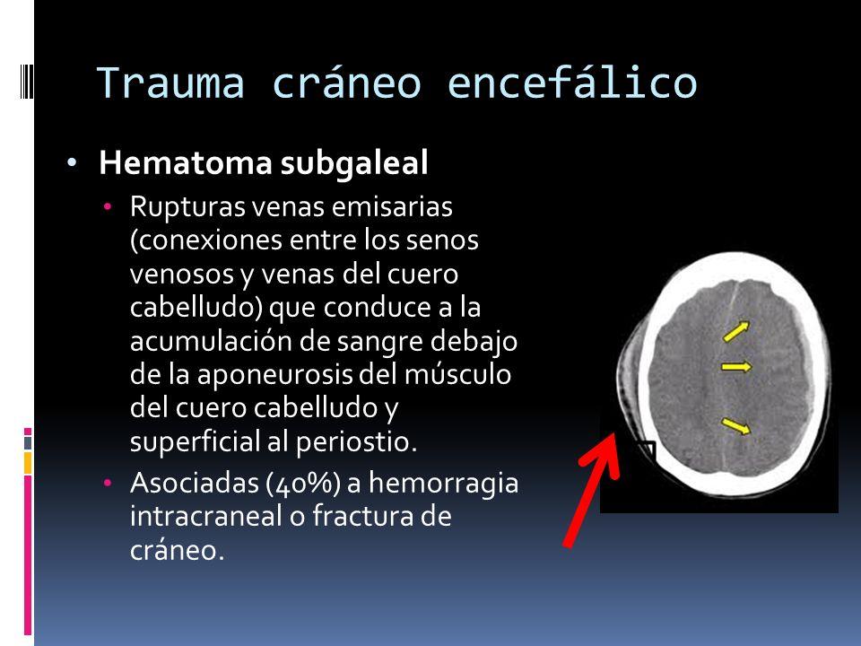 Trauma cráneo encefálico Hematoma subgaleal Rupturas venas emisarias (conexiones entre los senos venosos y venas del cuero cabelludo) que conduce a la