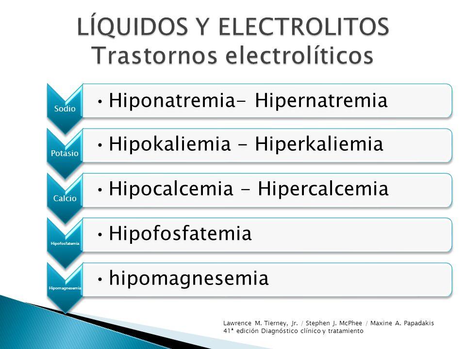 Sodio Hiponatremia- Hipernatremia Potasio Hipokaliemia - Hiperkaliemia Calcio Hipocalcemia - Hipercalcemia Hipofosfatemia Hipomagnesemia hipomagnesemi