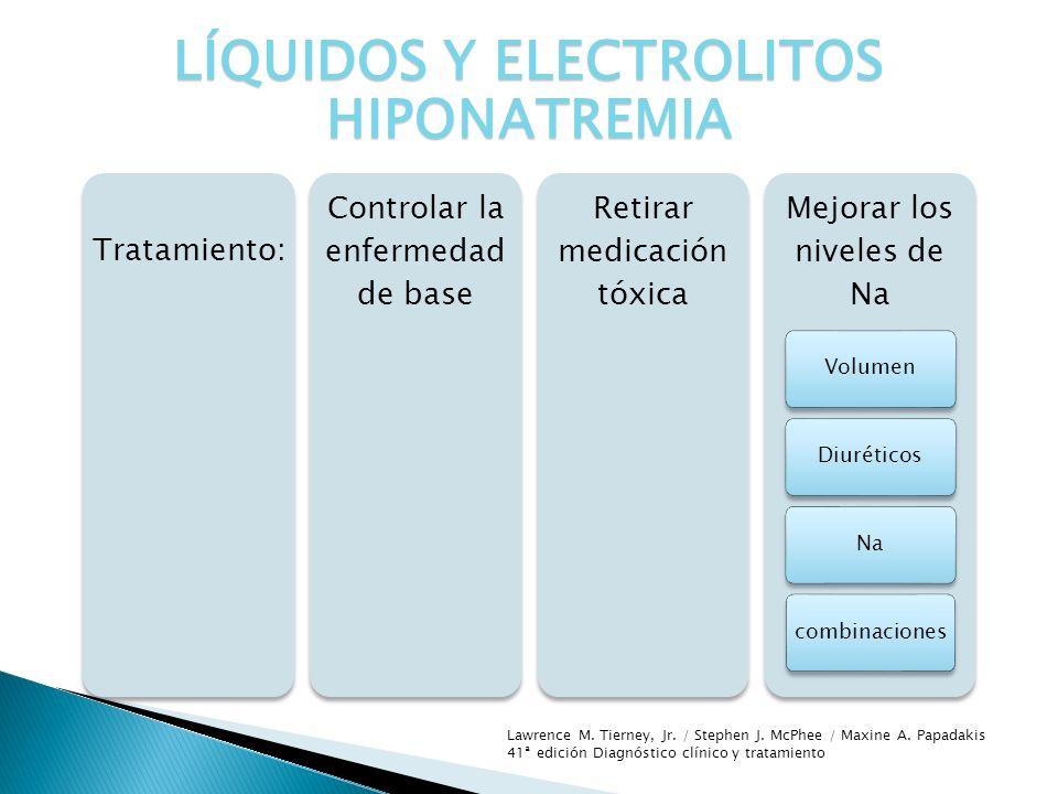 Tratamiento: Controlar la enfermedad de base Retirar medicación tóxica Mejorar los niveles de Na VolumenDiuréticosNacombinaciones LÍQUIDOS Y ELECTROLI