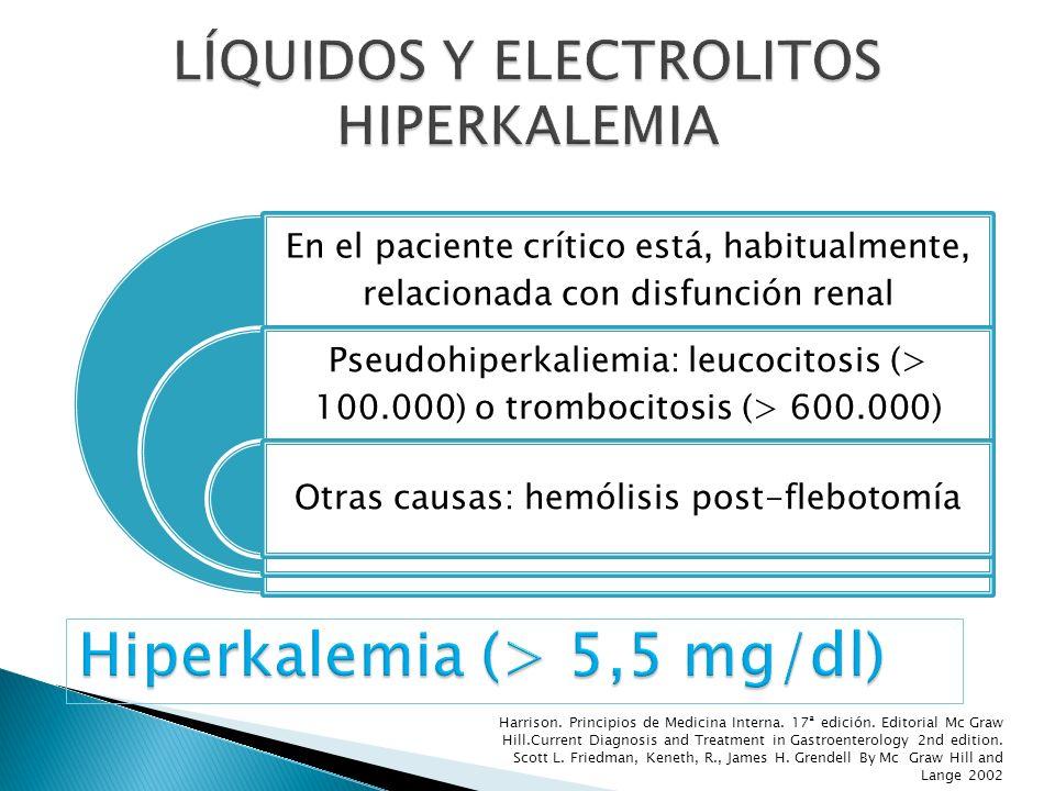 En el paciente crítico está, habitualmente, relacionada con disfunción renal Pseudohiperkaliemia: leucocitosis (> 100.000) o trombocitosis (> 600.000)