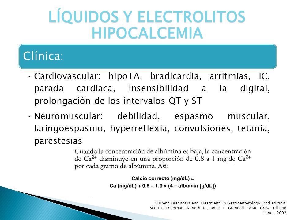 Clínica: Cardiovascular: hipoTA, bradicardia, arritmias, IC, parada cardiaca, insensibilidad a la digital, prolongación de los intervalos QT y ST Neur