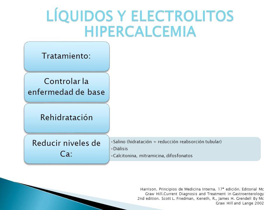 Tratamiento: Controlar la enfermedad de base Rehidratación Salino (hidratación + reducción reabsorción tubular) Diálisis Calcitonina, mitramicina, dif